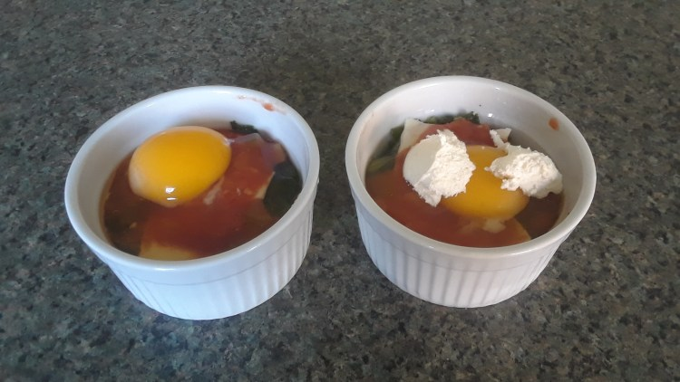 baked eggs ready for the oven