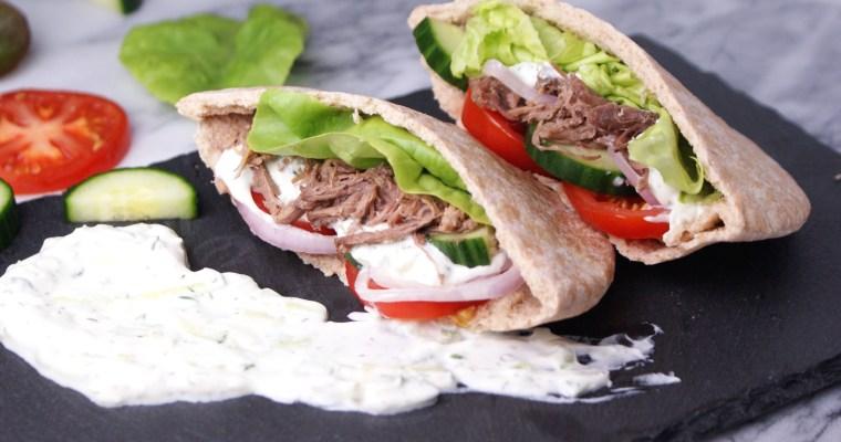 Beef Gyros with Tzatziki Yogurt Sauce