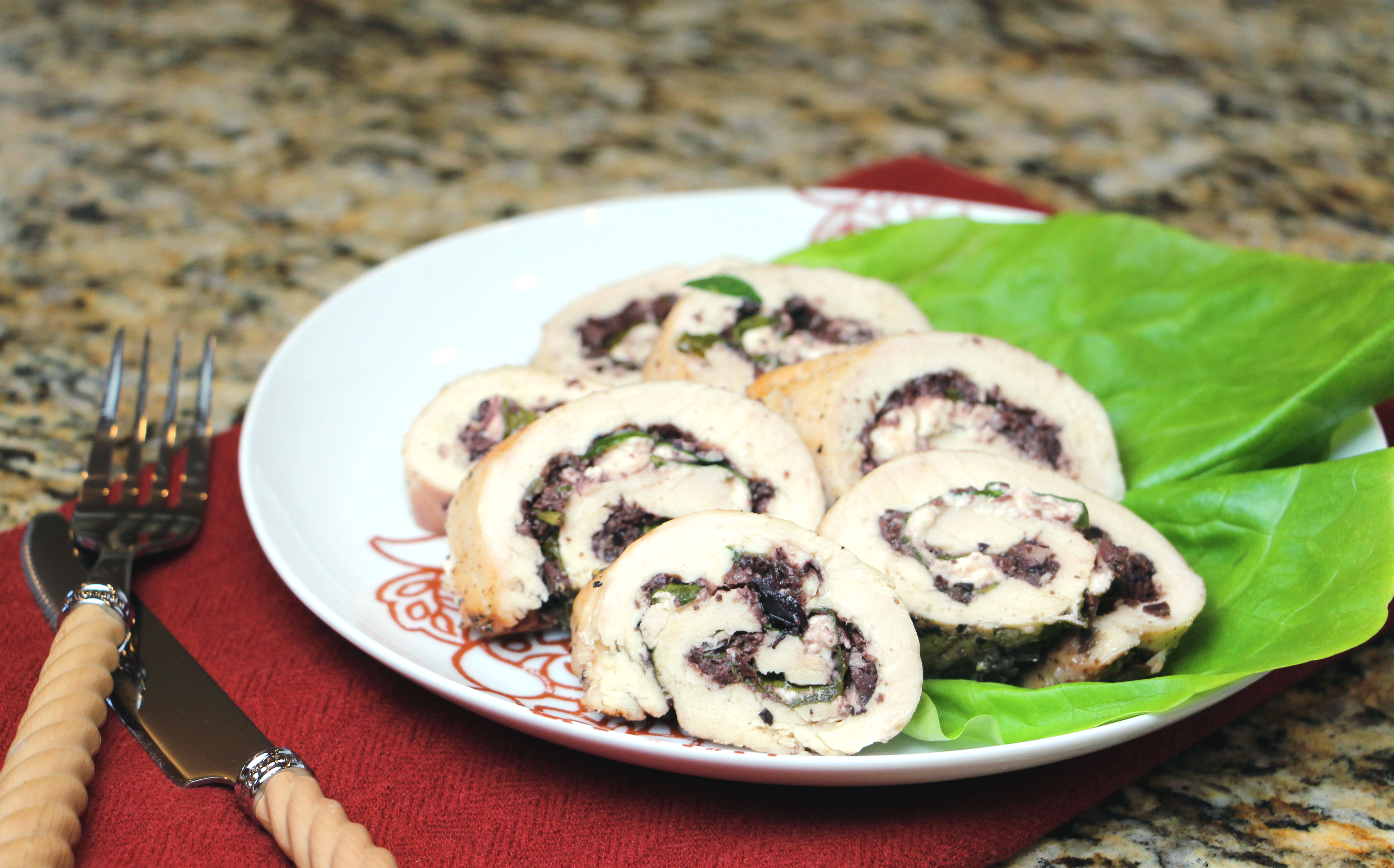 Olive Feta Chicken Roulade