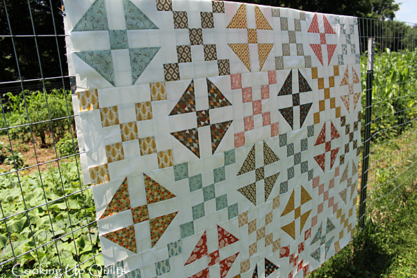 Side View Flimsy Quilt Top Checkered Shoo Fly Block