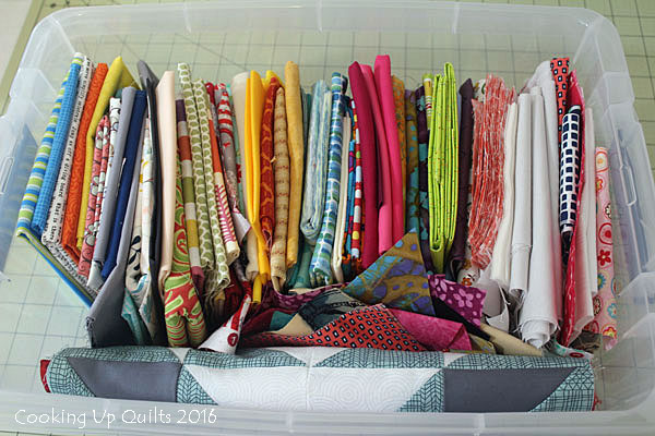Bin of large scraps of fabric