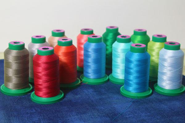 Isacord thread grunge fabric