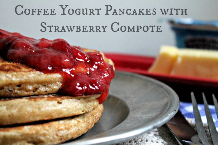 Coffee Yogurt Pancakes with Strawberry Compote 1