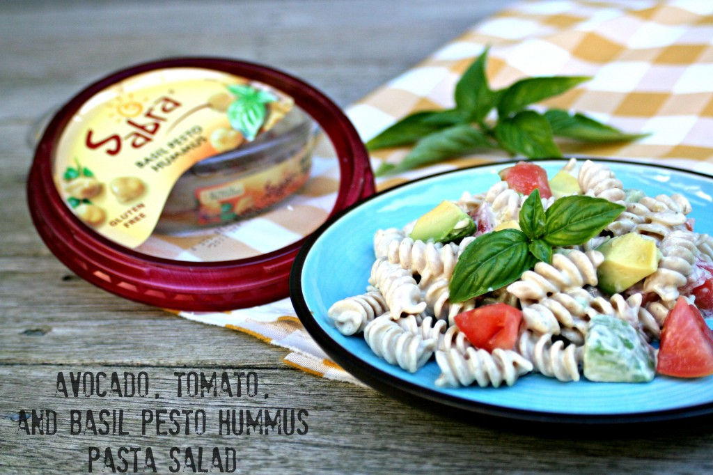 Avocado, Tomato, and Basil Pesto Hummus Pasta Salad