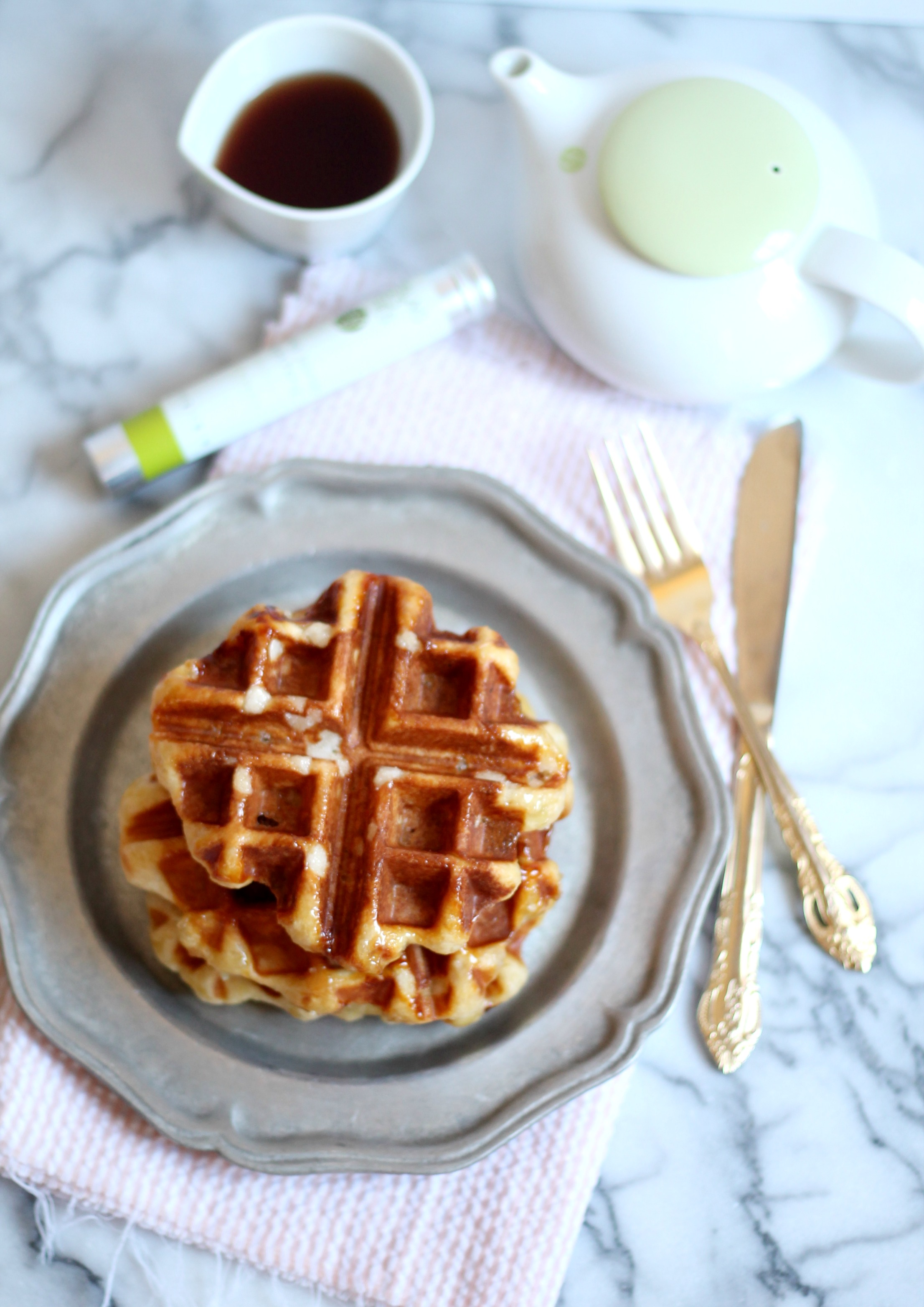 Belgian Waffles with Green Tea Whipped Cream