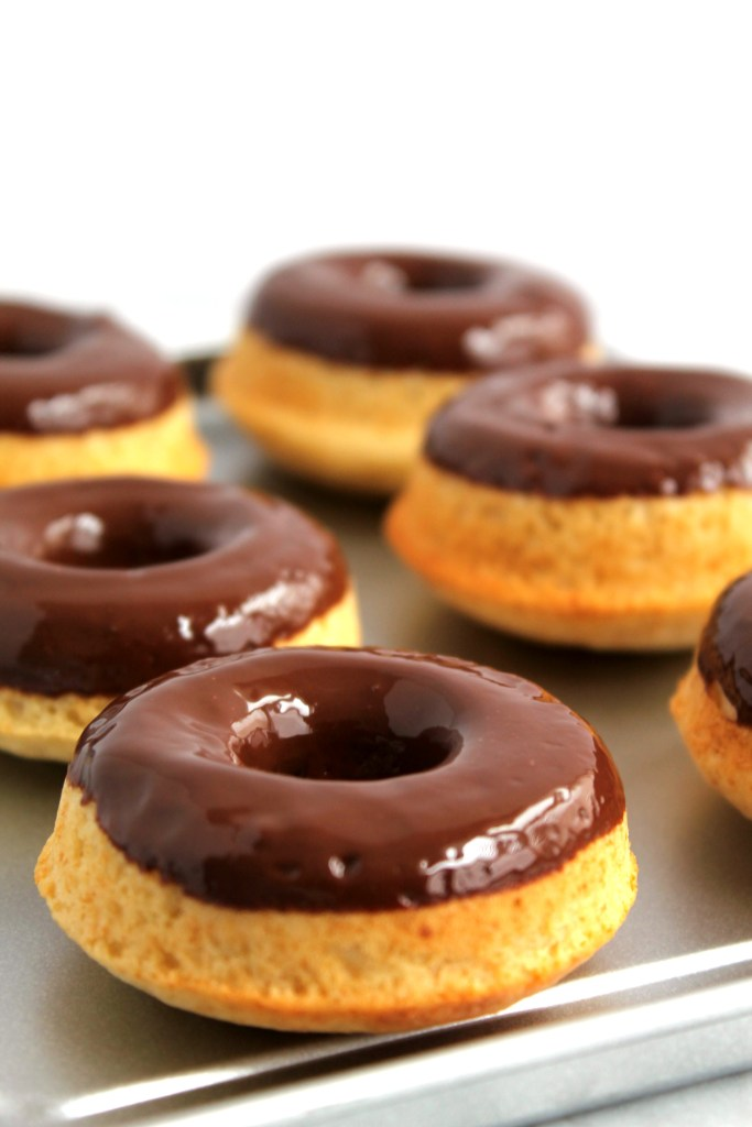 Chocolate Dipped Vanilla Baked Donuts
