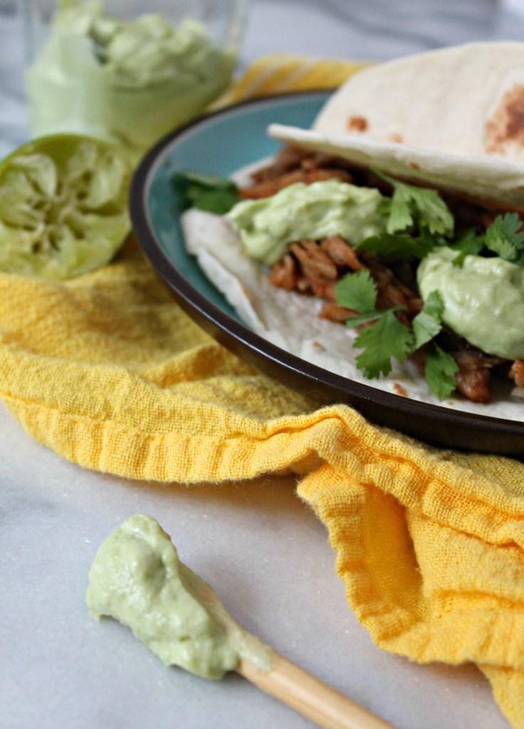 Pork Carnitas Tacos with Avocado Crema 03