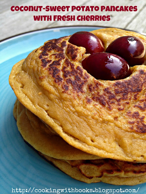 It's a pancake recipe party, and you're invited! See the recipe for sweet potato coconut pancakes with fresh cherries, from Cooking with Books.