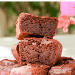 Pinterest graphic showing a pile of rich gooey chocolate brownies containing hidden beetroot. These brownies are vegan and gluten-free.