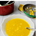 Pinterest graphic showing Spiced Pumpkin and Sweetcorn Soup, a vegan and gluten-free soup with warming turmeric and soothing coconut milk.