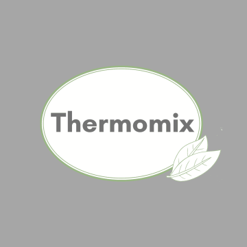 """category button: green-rimmed, white oval saying """"Thermomix"""" on grey background"""
