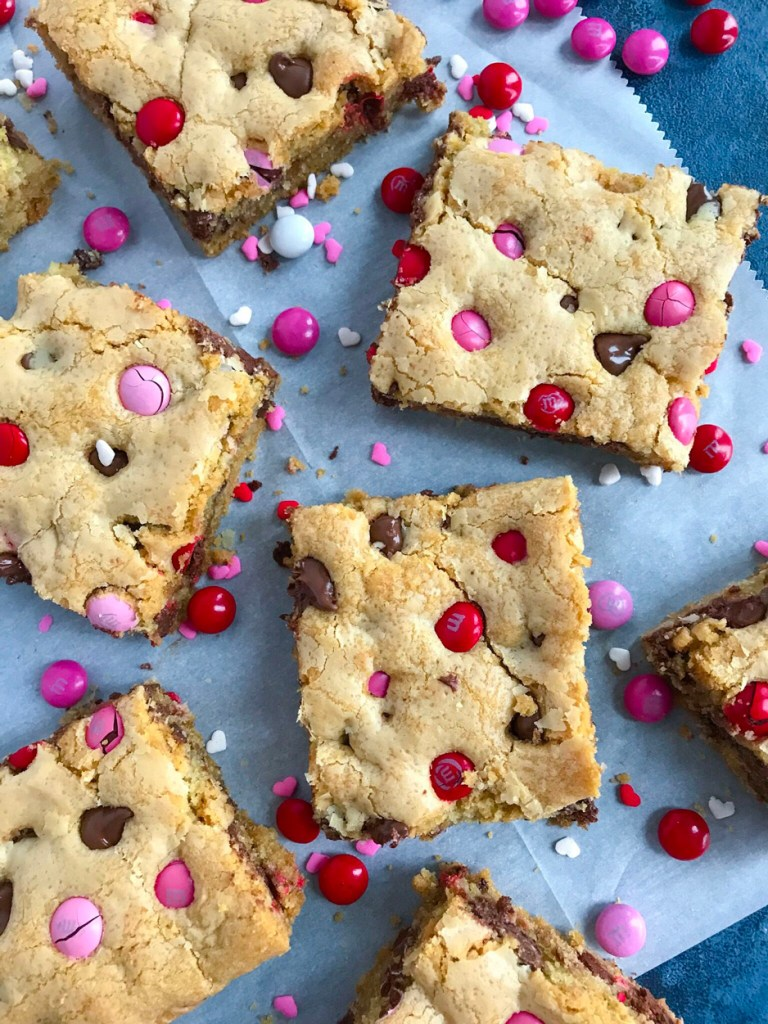 Valentine's M&M Chocolate Chip Cookie Bars