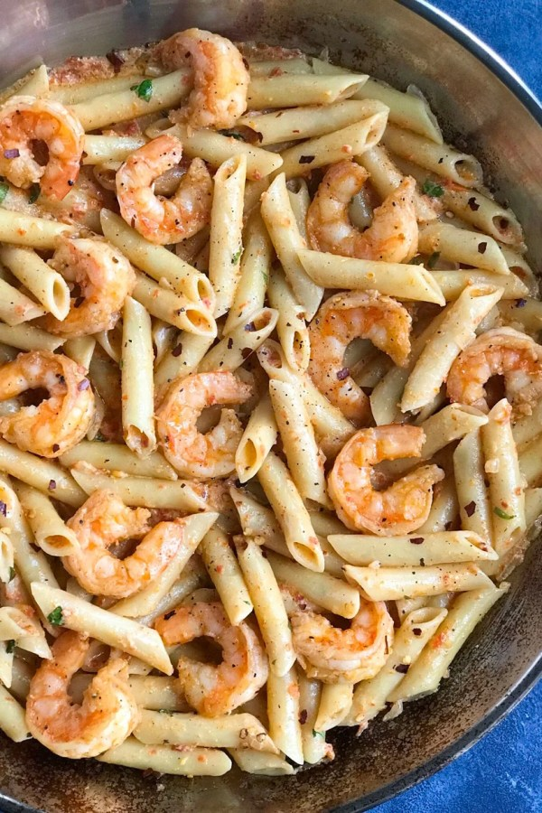 Creamy Shrimp Penne Pasta With Red Pepper Sauce