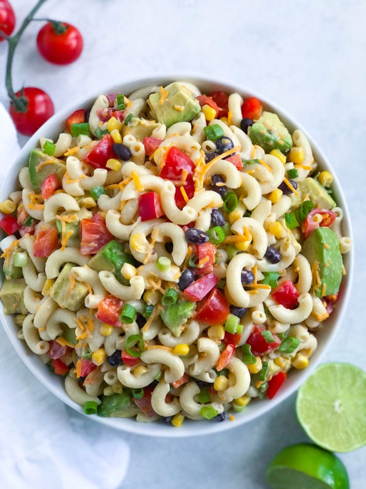 Taco Ranch Pasta Salad served in a large white bowl