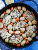 Baked chicken and potatoes serving