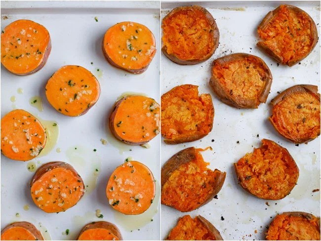 sweet potatoes with herbs and garlic