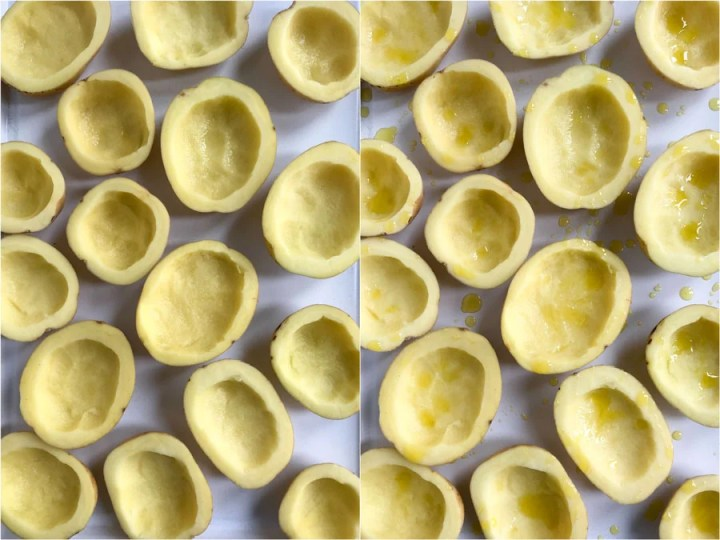 cored potato halves