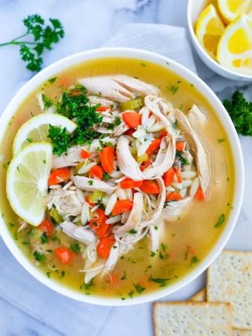 Lemon Chicken Orzo Soup serving