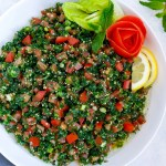 Lebanese tabbouleh salad served in a large white bowl