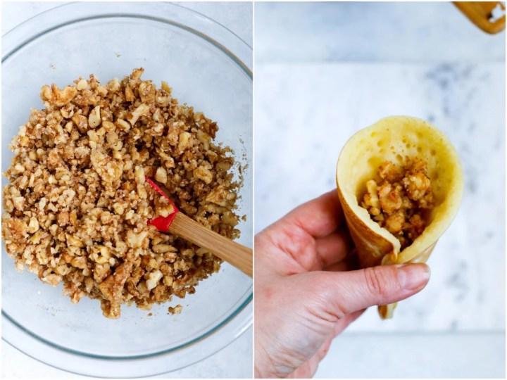 atayef with walnut filling