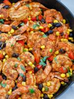 close up photo of the mexican shrimp in a skillet