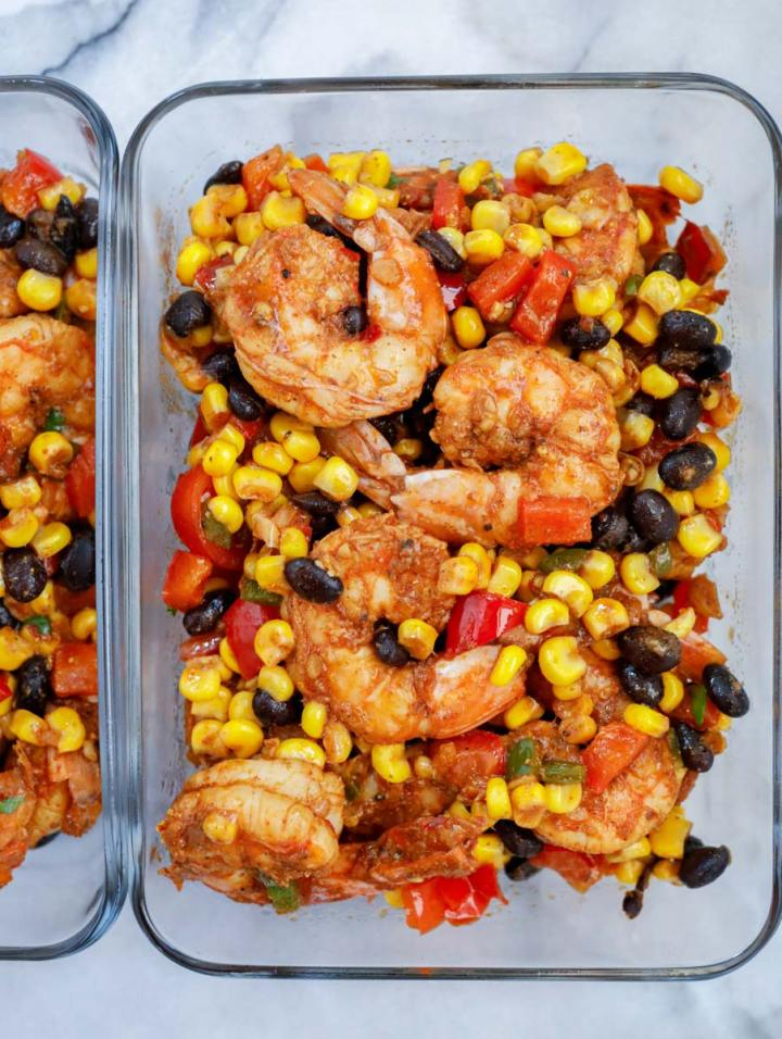 mexican shrimp served in meal prep glass containers