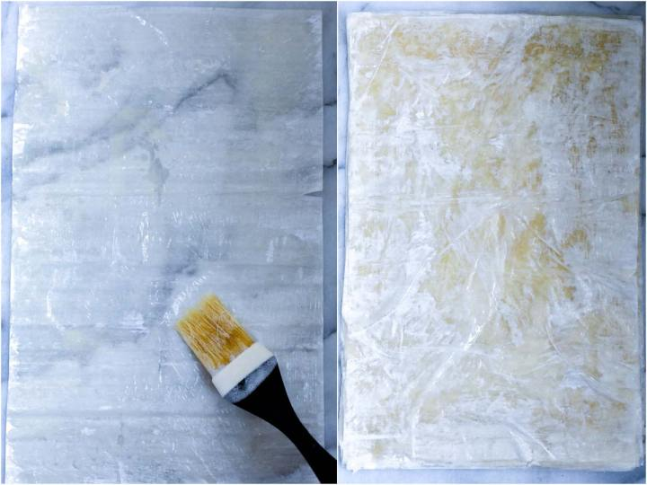 phyllo dough sheet brushed with butter and shortening