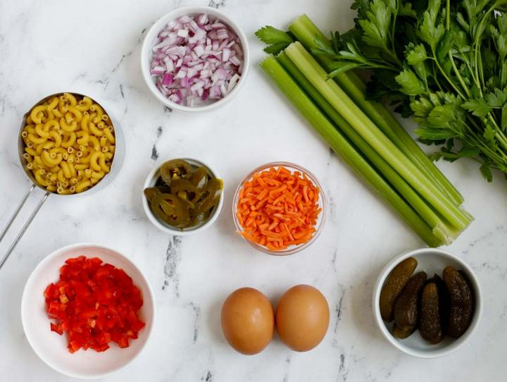 ingredients for Easy Macaroni Salad
