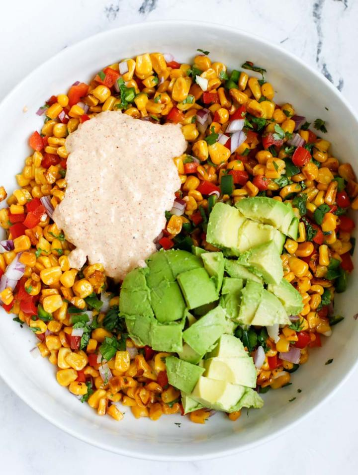 Street Corn Salad with avocado and dressing