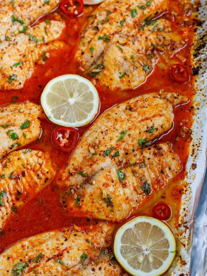 overhead shot of baked tilapia recipe