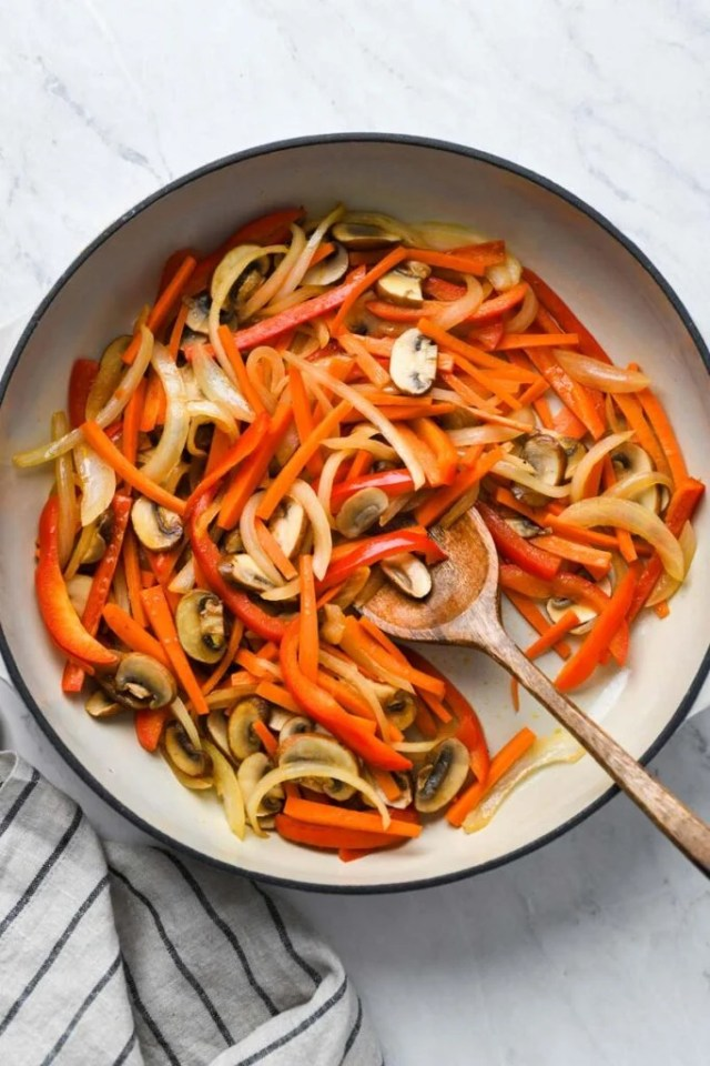veggies sautéed in a skillet