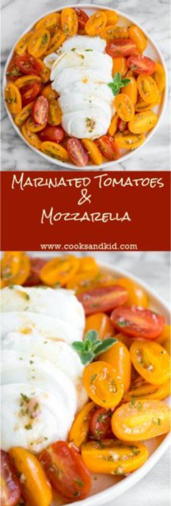 marinated tomatoes and mozzarella