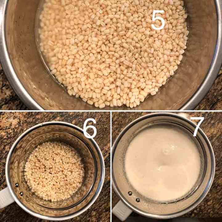 Step by step photos with urad dal being ground to batter