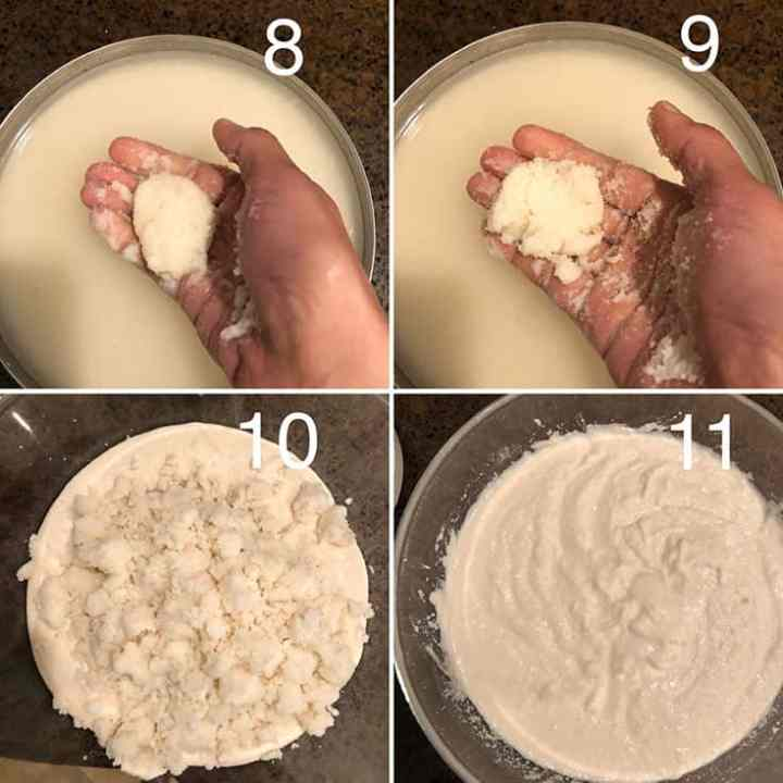 Step by step photos for prepping rava and making the batter for idli