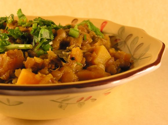 Pumpkin & Whole Masoor dal Sprouts Stew