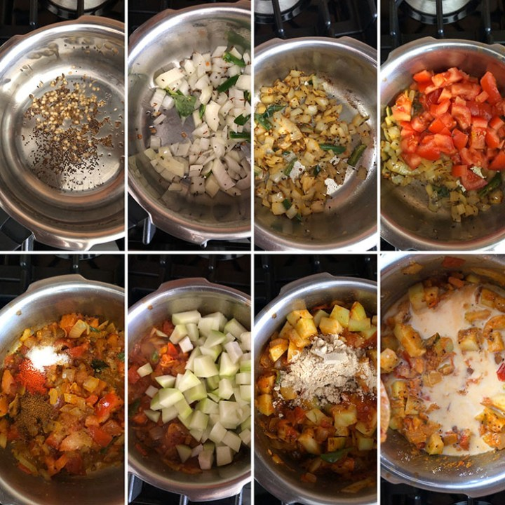 Step by step photos of making curry