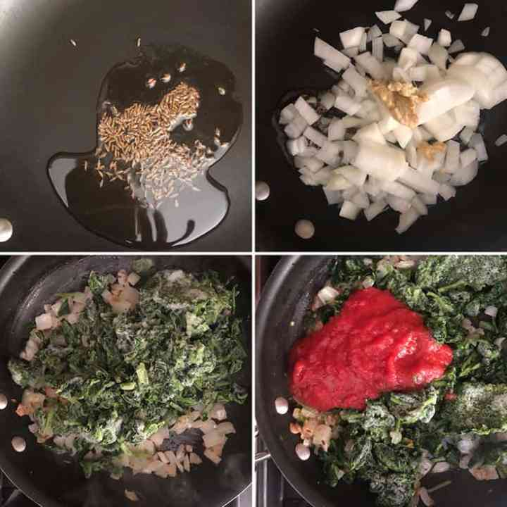 Step by step photos showing the making of spinach-chickpea filling: Cumin seeds added to hot oil followed by chopped onions, ginger-garlic paste, frozen chopped spinach and tomato puree