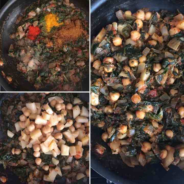 Step by step photos showing the making of spinach-chickpea filling: Turmeric, red chili powder, garam masala added to spinach mixture followed by potato and chickpeas