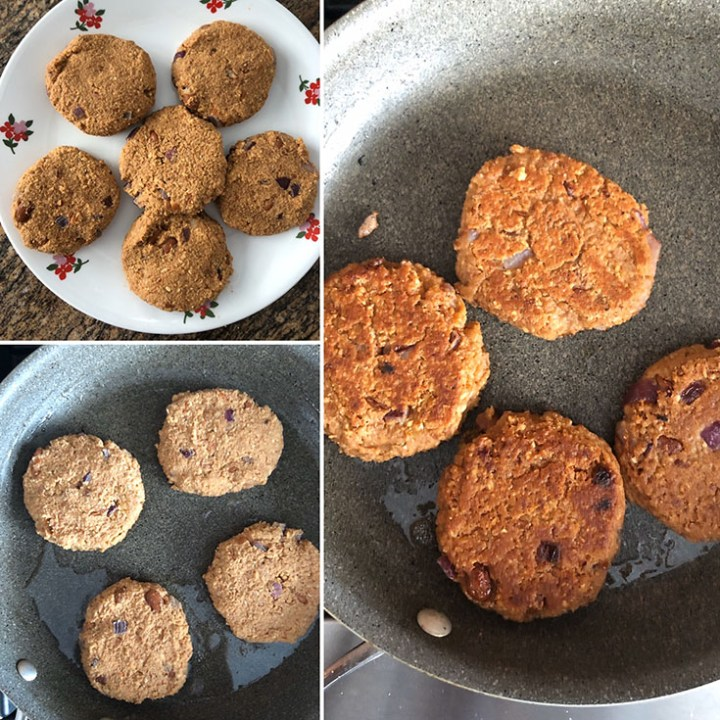 Step by step photos showing the making of refried bean burger