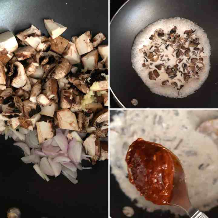 Step by step photos showing cooking veggies, cream and chipotle sauce