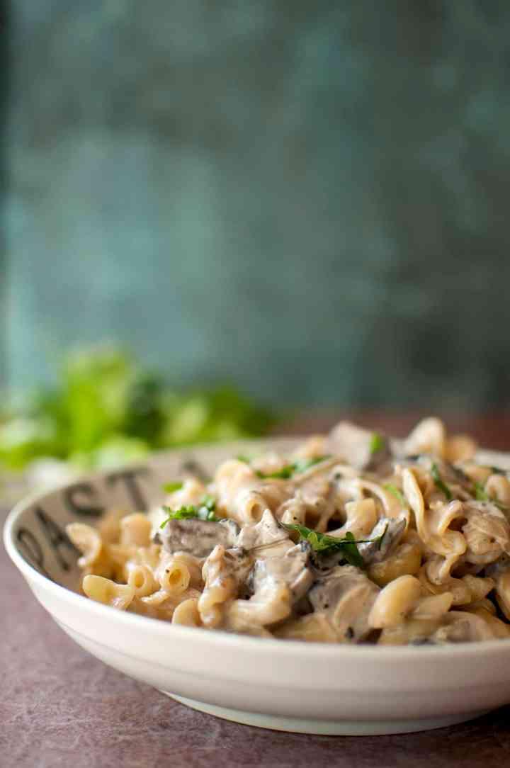 White bowl with creamy pasta