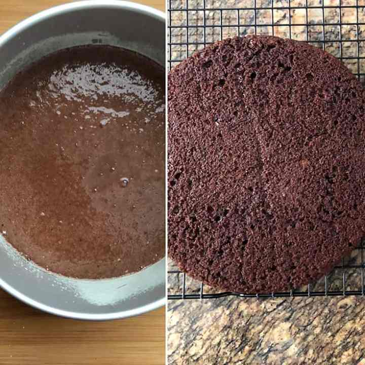 Side by side photos showing batter in cake pan and baked cake
