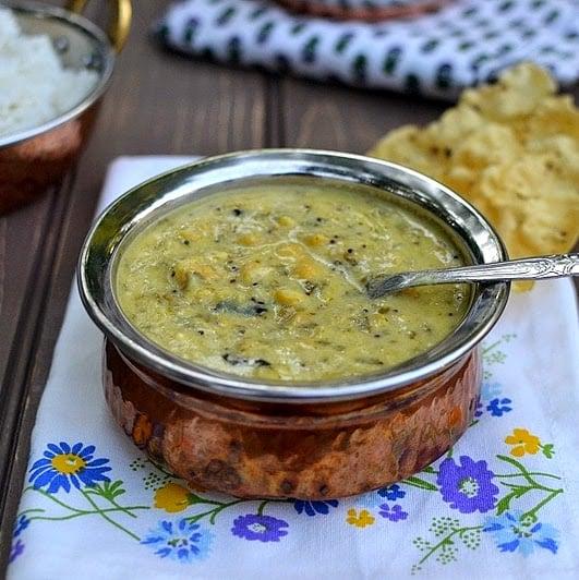 Patli Dal (Yellow Split Peas & Kale in a Yogurt-Peanut Sauce)