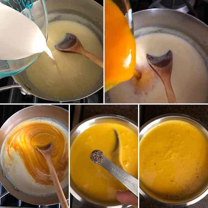 Side by side photos showing the addition of heavy cream, mango puree, ground cardamom to the cooked custard base