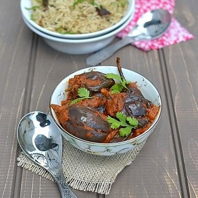 Shahi Baingan (Eggplant in Spicy tomato-almond sauce)