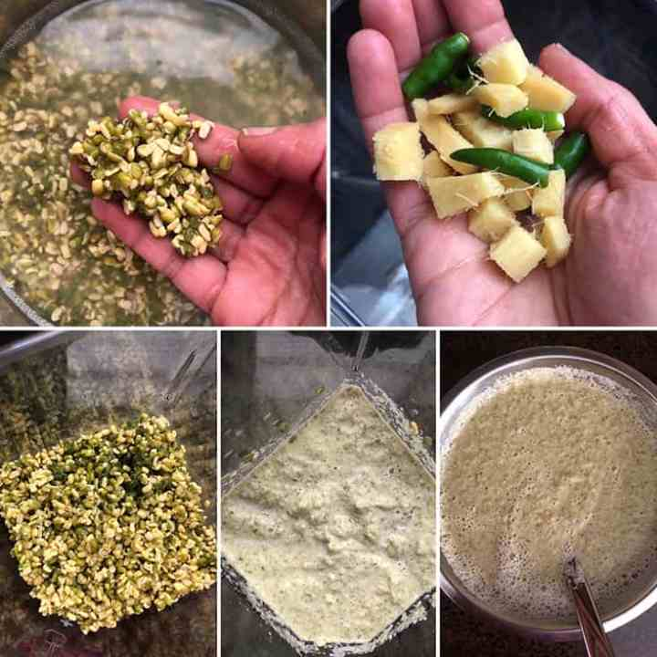 Side by side photos of soaked moong dal, rice, chopped ginger, green chilies being ground to a coarse batter