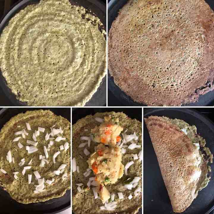 Side by side photos of making pesarattu upma - batter poured on hot griddle and cooked till golden, sprinkle onions, add upma, fold and serve