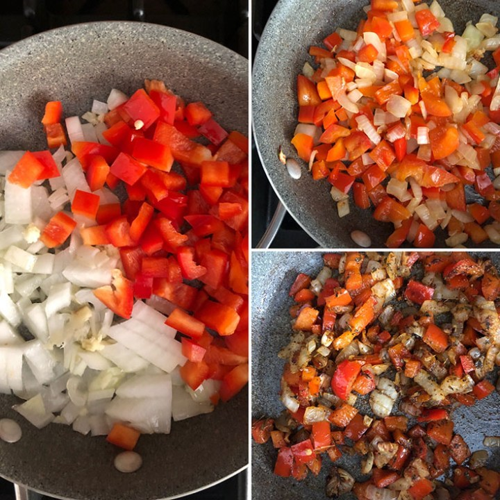 Step by step photos showing cooking of onions and red peppers with spices