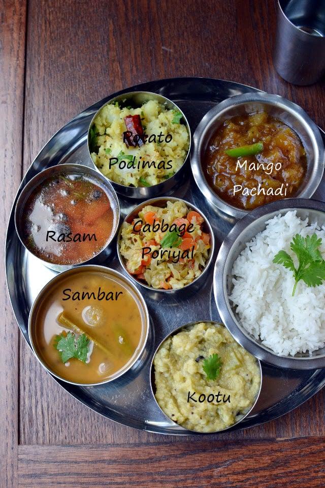 Simple vegetarian tamil nadu thali recipe cookshideout forumfinder Image collections
