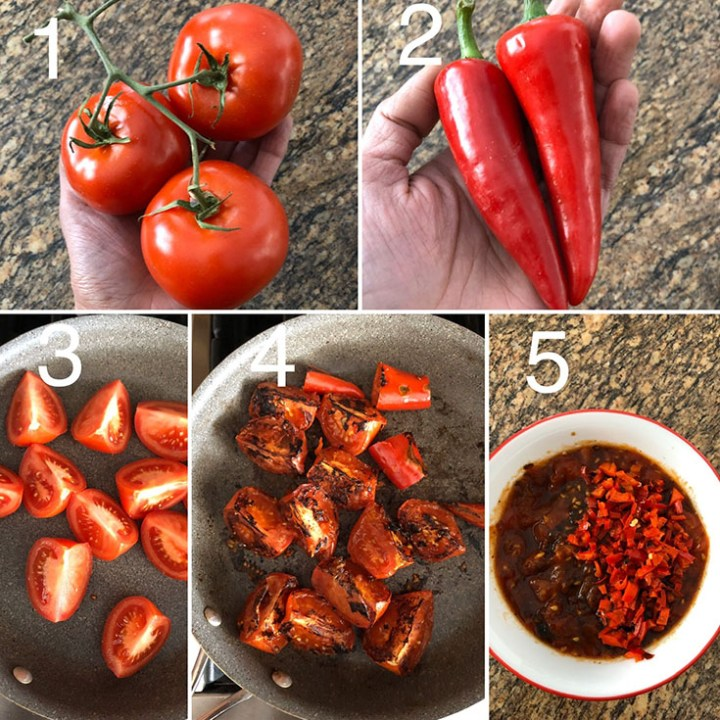 Photos showing fresh and roasted tomatoes and fresno chilis